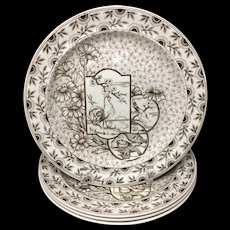 Four ~ Staffordshire Brown Transferware Plates ~ Devonshire ~ Rooster ~ Fish 1885
