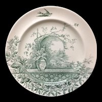 Victorian Aesthetic Movement Green Transferware Cabinet Plate ~ RUSTIC 1886