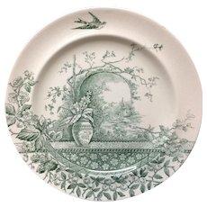 Victorian Aesthetic Movement Green Transferware Cabinet Plate ~ RUSTIC 1886