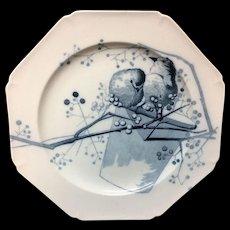 1882 ~ Artist Pierre Mallet Blue Transferware ORNITHOLOGY  Plate Canova