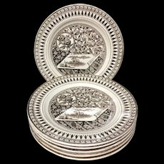 6 Staffordshire Brown Transferware Plates ~ CANTERBURY 1883