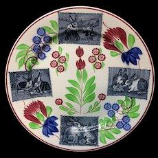 c 1900 ~ Stick Spatter Rabbitware Rabbit Plate ~ Virginia Rose