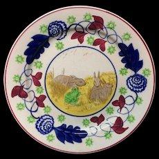 c 1900 ~ Stick Spatter Spongeware Rabbitware Ironstone Plate ~ Bulls Eye