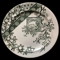 Large Dark Green Aesthetic Movement Plate ~ DADO 1885