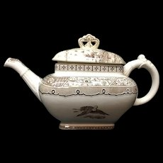 "Aesthetic Transferware Brown Biscuit TeaPot ~ MELBOURNE 1883AESTHETIC MOVEMENT TRANSFERWARE TEA POT  MELBOURNE PATTERN  Gildea and Walker Potteries Tunstall, Staffordshire England c. 1883  This Victorian aesthetic 11 "" long x 6 1/2"" tall tea pot is t"