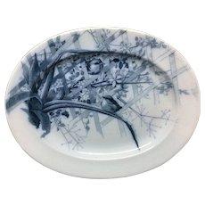 Artist Pierre Mallet Blue Transferware ORNITHOLOGY  Platter ~ 1882