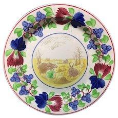 Spongeware Rabbitware Ironstone CHARGER Platter c 1900
