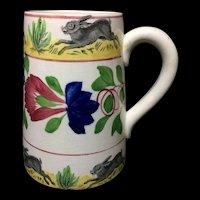 Spongeware Rabbitware Ironstone Tankard Mug ~ Virginia Rose c1900