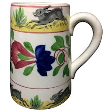 Spongeware Rabbitware Ironstone Tankard Mug ~ Virginia Rose c1900