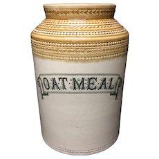 Edwardian Stonewear Storage Jar ~ OATMEAL ~ c 1890