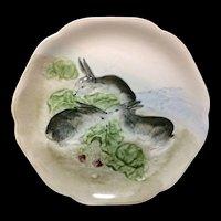 Rare French Choisy Le Roi Majolica Plate ~ RABBITS 1900