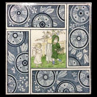 1880 Artist Kate Greenaway Tile ~  Children ~ 1881