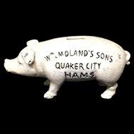 Cast Iron Quaker City Hams Hog Pig Bank ~ c1950