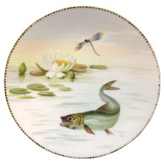 Superb Hand Painted Fish Aquatic Porcelain Plate ~ 1870