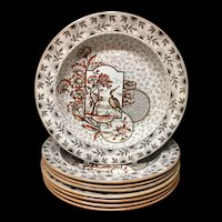 Eight ~ Hand Painted Victorian Soup Plates ~ Devonshire 1885