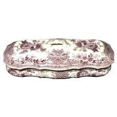 Purple Pearlware Staffordshire Razor Box ~ 1830