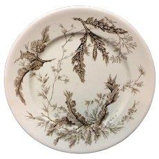 Brown Wedgwood Staffordshire Dinner Plate ~ SEAWEED 1883