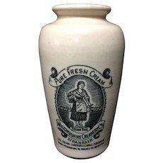 Large Size Stoneware Advertising Cream Pot ~ MILKMAID ~ 1880