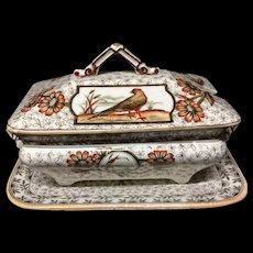 Polychrome Aesthetic Movement Victorian Sauce Tureen & Platter ~ DEVONSHIRE 1885