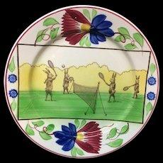 c 1900 ~ Stick Spatter Anthropomorphized Rabbitware Rabbit Plate ~ TENNIS