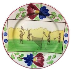 c 1900 ~ Stick Spatter Anthropomorphized Rabbitware Rabbit Plate ~ TENNIS