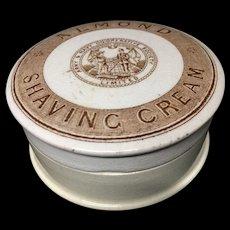 Victorian Brown Almond Shaving Cream Pot Lid 1880