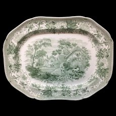 LargeTransferware Platter ~ Dog in Manger ~ AESOP'S FABLES 1835