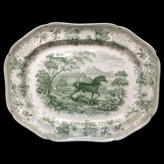 HugeTransferware Platter ~ Horse and the Loaded Ass~ AESOP'S FABLES 1835