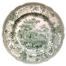 Copeland Garrett Transferware Plate Dog & Sheep ~ Aesop's Fables 1835
