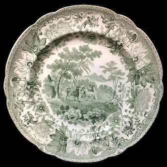 Copeland Garrett Transferware Plate Dog & Sheep ~ Aesop's Fables 1835