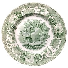 Copeland Garrett Transferware Plate Fox and Grapes ~ Aesop's Fables 1835