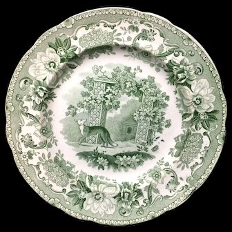 Copeland Garrett Transferware Plate Fox and Grapes ~ Aesop's Fables 1835