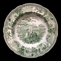 Copeland Garrett Transferware Deep Plate ~ Lion in Love ~ Aesop's Fables 1835