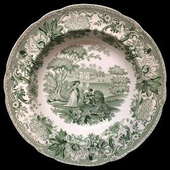 Copeland Garrett Transferware Deep Plate ~ Lion in Love ~ Aesop's Fables 1835