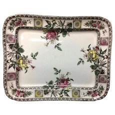 Aesthetic Movement  Brown Transferware Platter ~ GARFIELD 1885