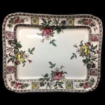Aesthetic Movement  Brown Transferware Platter ~ GARFIELD 1885
