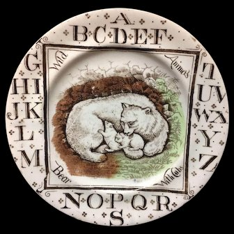 Staffordshire Antique ABC Plate ~ Wild Animals ~ POLAR BEARS 1880 AMT