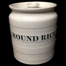 Maling Edwardian White Banded Kitchen Storage Jar ~ Ground Rice ~ c 1920