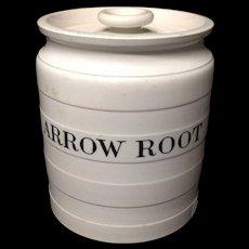 Maling Edwardian White Banded Kitchen Storage Jar ~ Arrow Root ~ c 1920