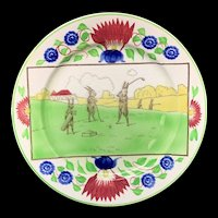 c 1900 ~ Stick Spatter Anthropomorphized Rabbitware Rabbit Plate ~ GOLF