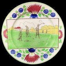 c 1900 ~ Stick Spatter Anthropomorphized Rabbitware Rabbit Plate ~ GOLF
