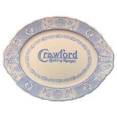English Blue Transferware Crawford Cooking Ranges Plate ~ 1905