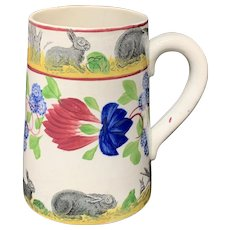 c 1900 ~ Stick Spatter Rabbitware Ironstone Tankard Mug ~ Virginia Rose