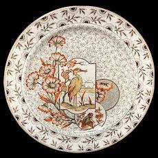 Victorian Brown Polychrome Devonshire Dinner Plate ~ 1885