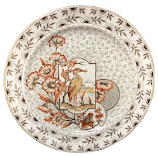 Victorian Brown Polychrome Devonshire Dinner Plate ~ 1885
