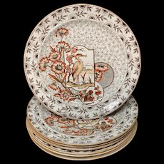Eight Devonshire Brown Polychrome Devonshire Dinner Plates ~ 1885