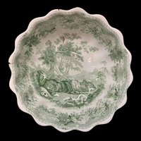 Aesops Fable Fruit Bowl Comport ~ LION LEOPARD FOX ~ 1835