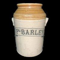 Edwardian Stonewear Storage Jar ~ PEARL BARLEY~ c 1890