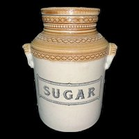 Edwardian Stoneware Storage Jar ~ SUGAR ~ c 1890
