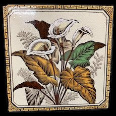 Aesthetic Brown Transferware Tile ~ CALLA LILIES 1887
